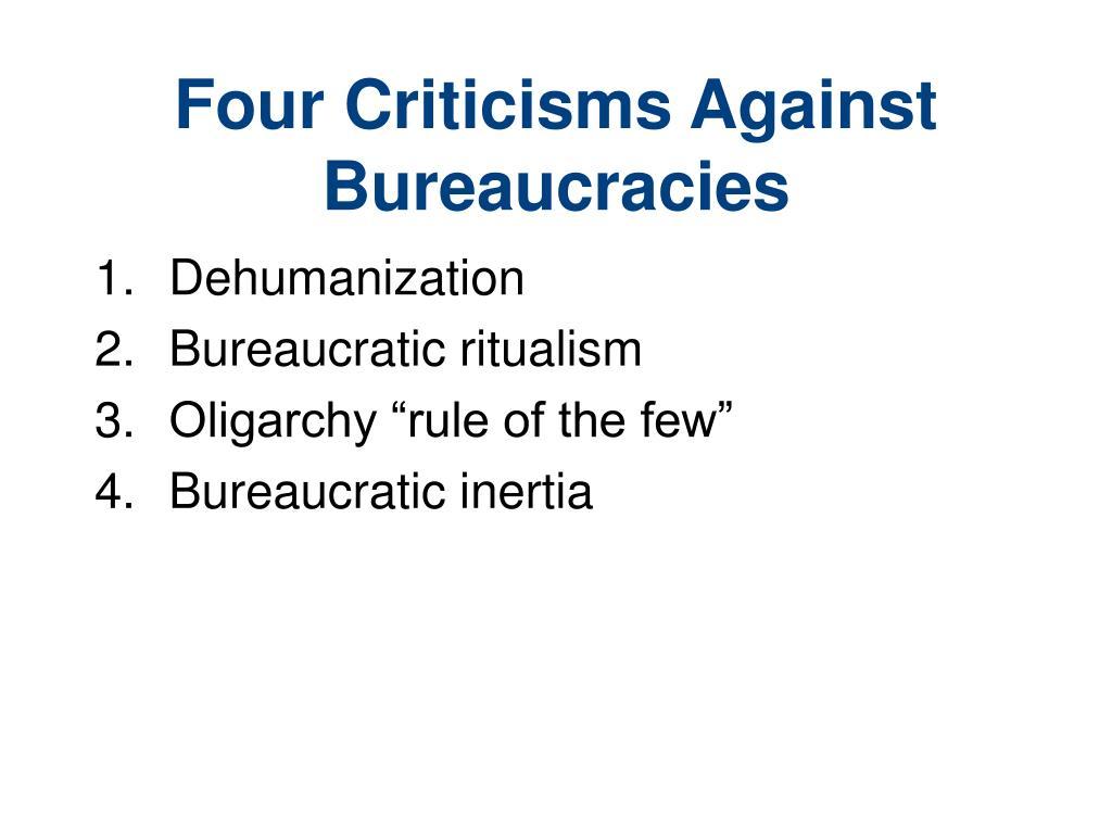 Four Criticisms Against Bureaucracies