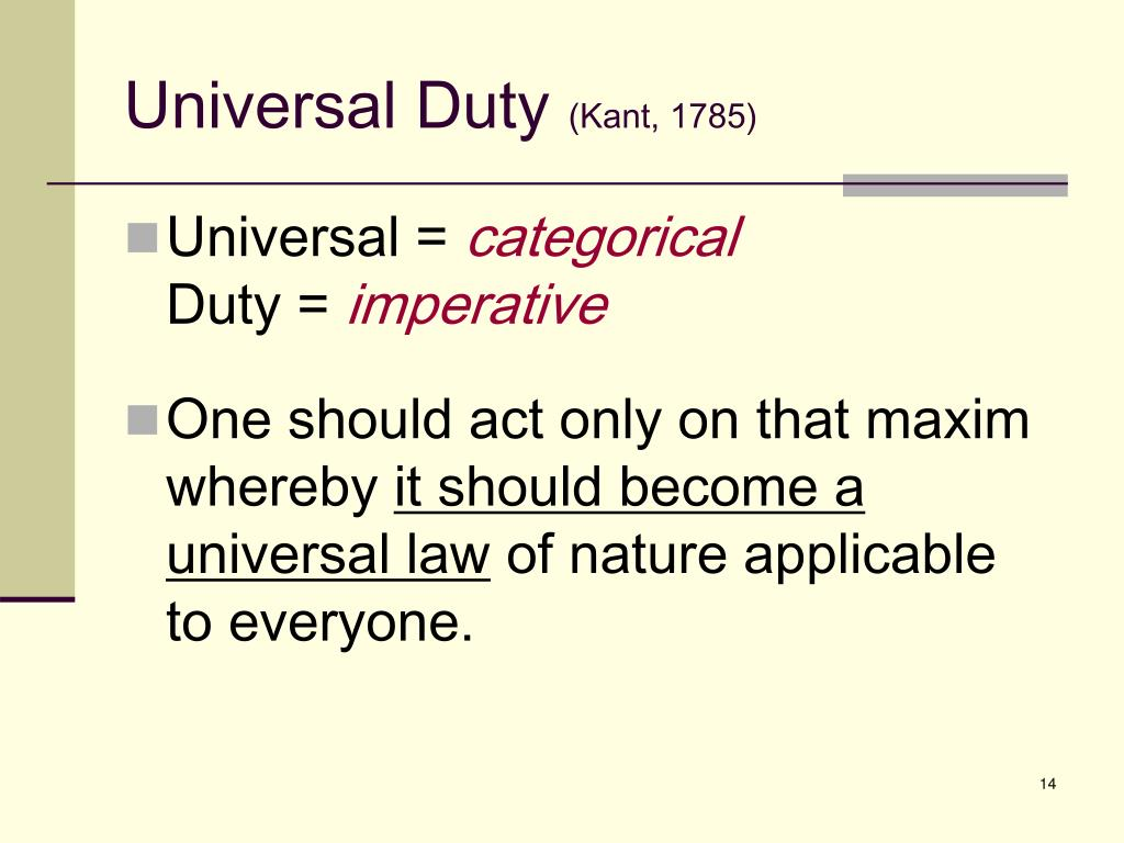an analysis of morality of actions in kants universal law formation of the categorical imperative Kant & beneficence: universal law formulation universal law formulation kant claims that of its conformity with the moral law called categorical imperative.