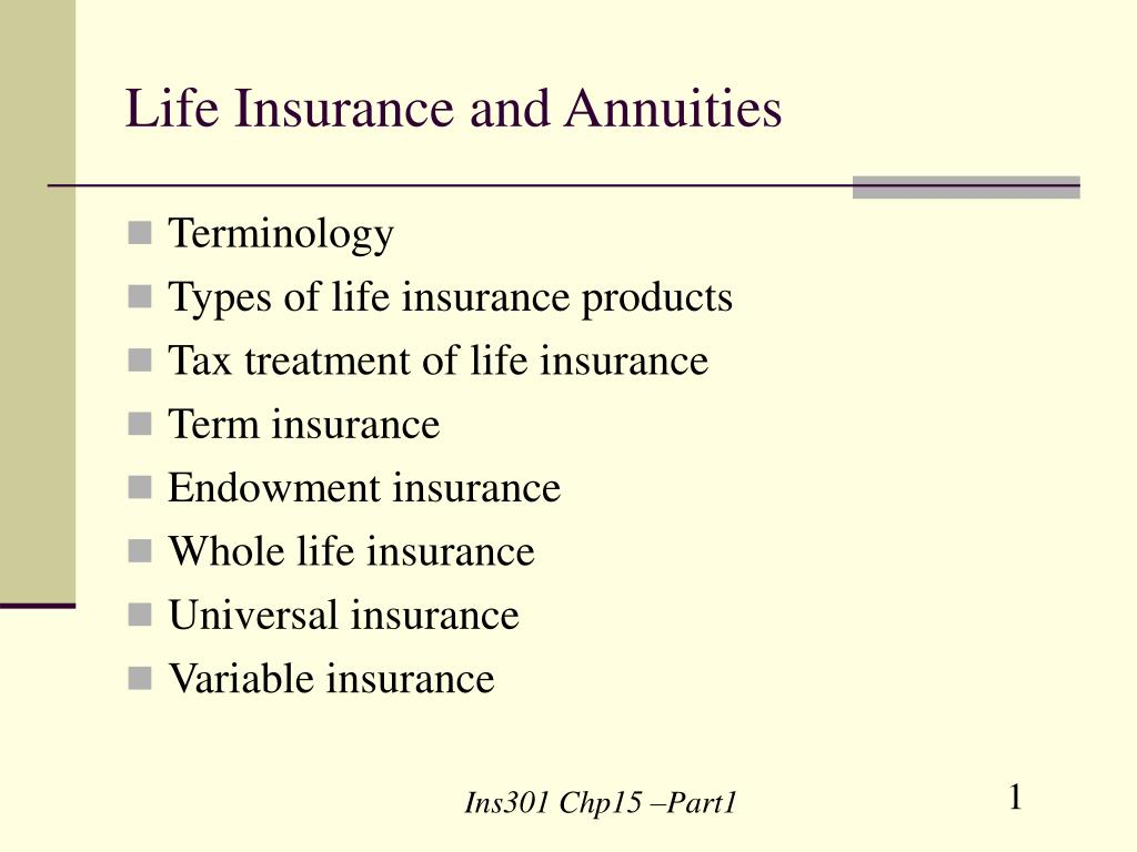 life insurance and annuities l.
