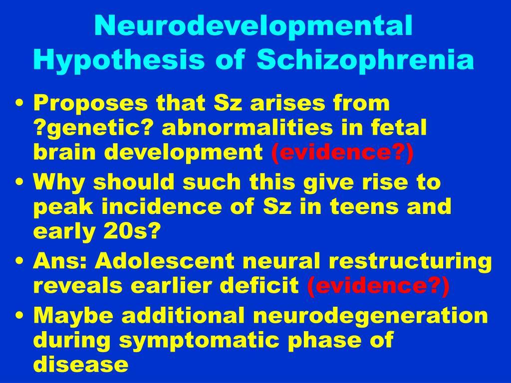 Neurodevelopmental Hypothesis of Schizophrenia