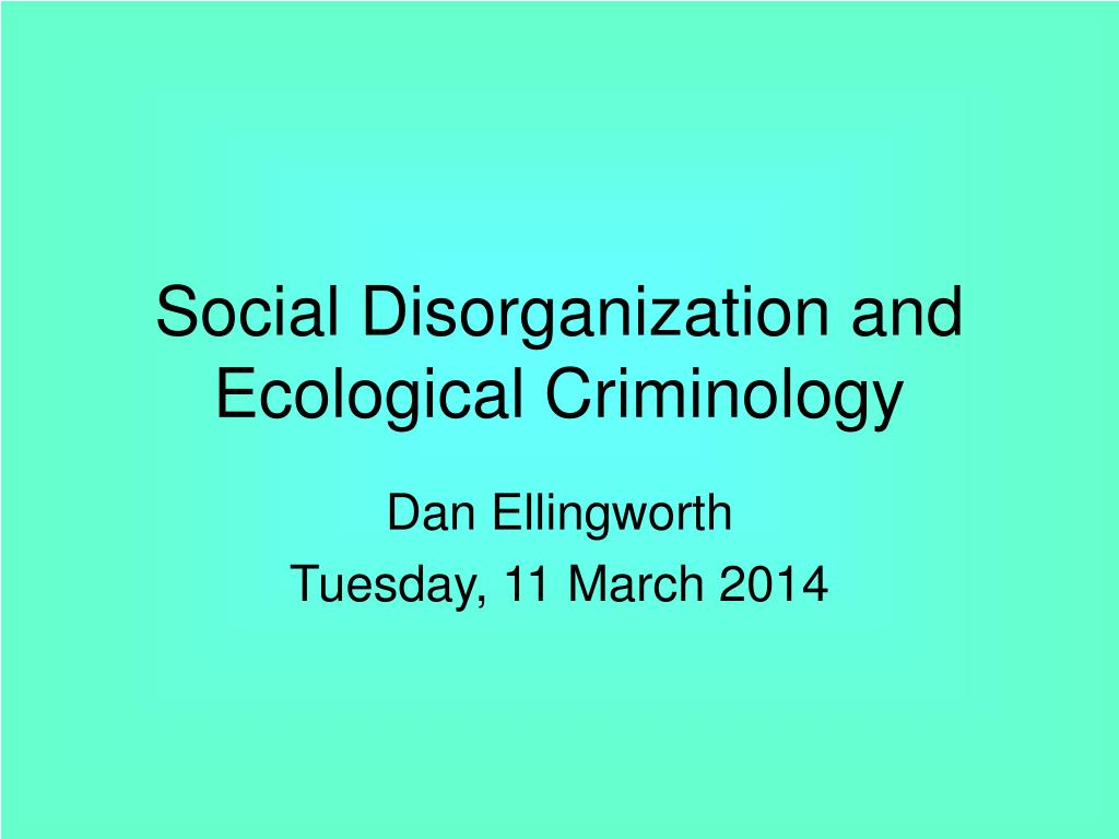 """social disorganization Faris writes, """"social disorganization is the disruption of the natural relation of persons to a degree that interferes with the performance of the accepted tasks of the group"""" symptoms of social disorganisation: social disorganisation is an indication of the existence of diseased or disruptive elements in society."""