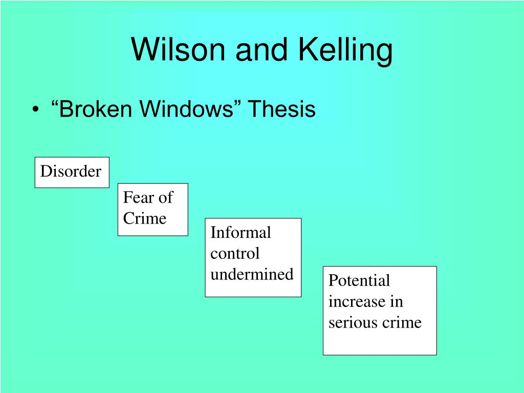 broken window thesis wilson and kelling Evaluating broken windows theory this was also actually one of six experiments designed to test out wilson and kelling's 1996 'broken windows theory.