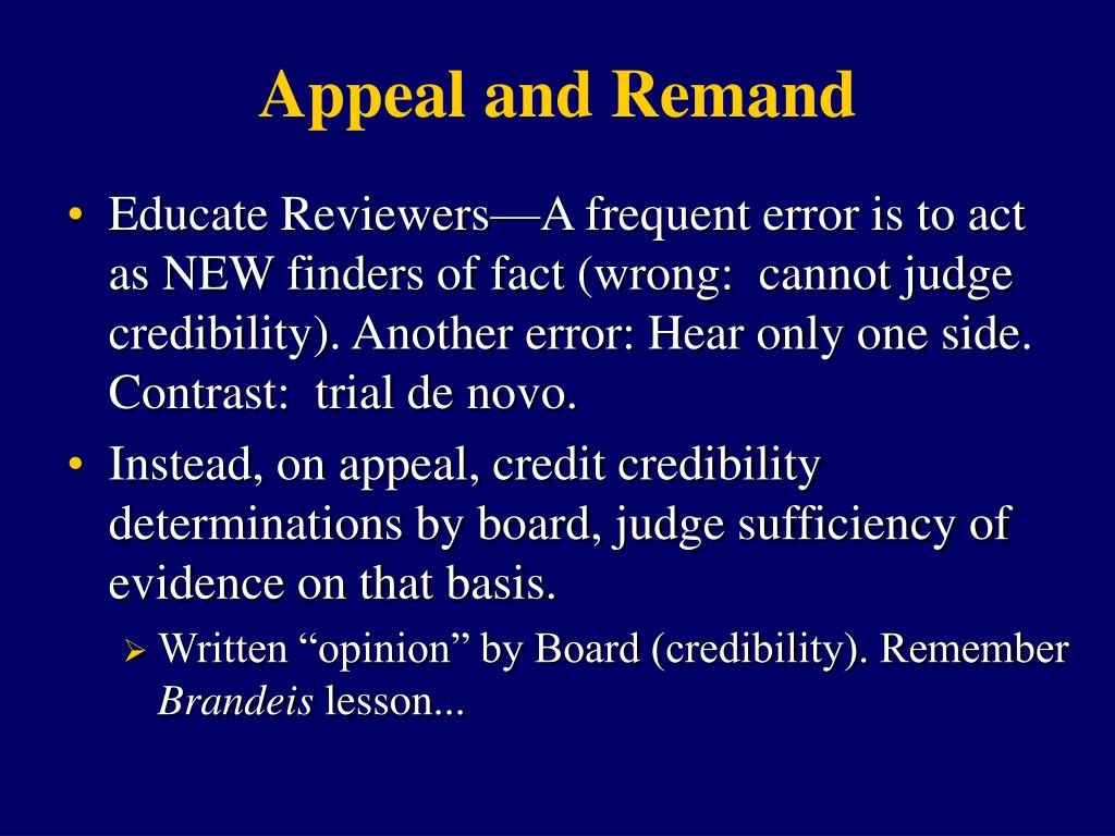 Appeal and Remand