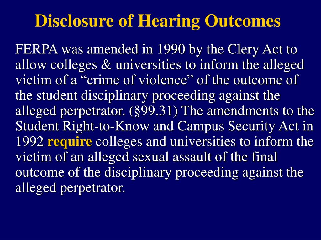 Disclosure of Hearing Outcomes