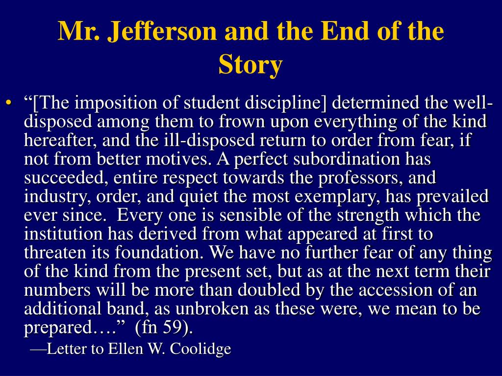 Mr. Jefferson and the End of the Story
