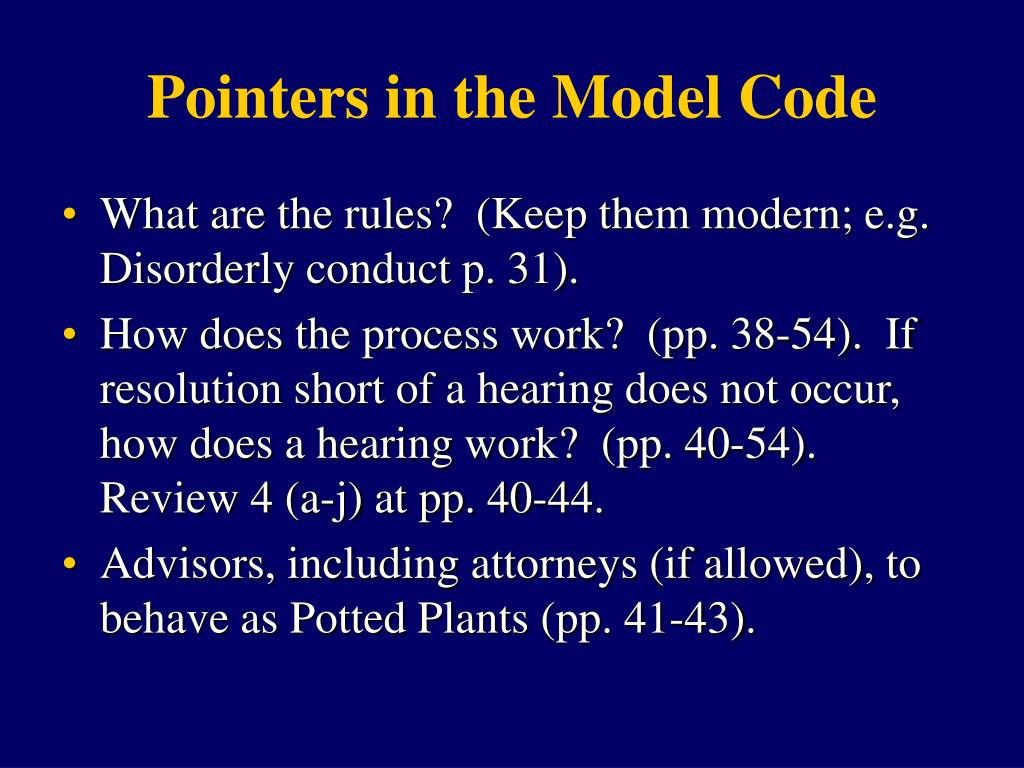Pointers in the Model Code