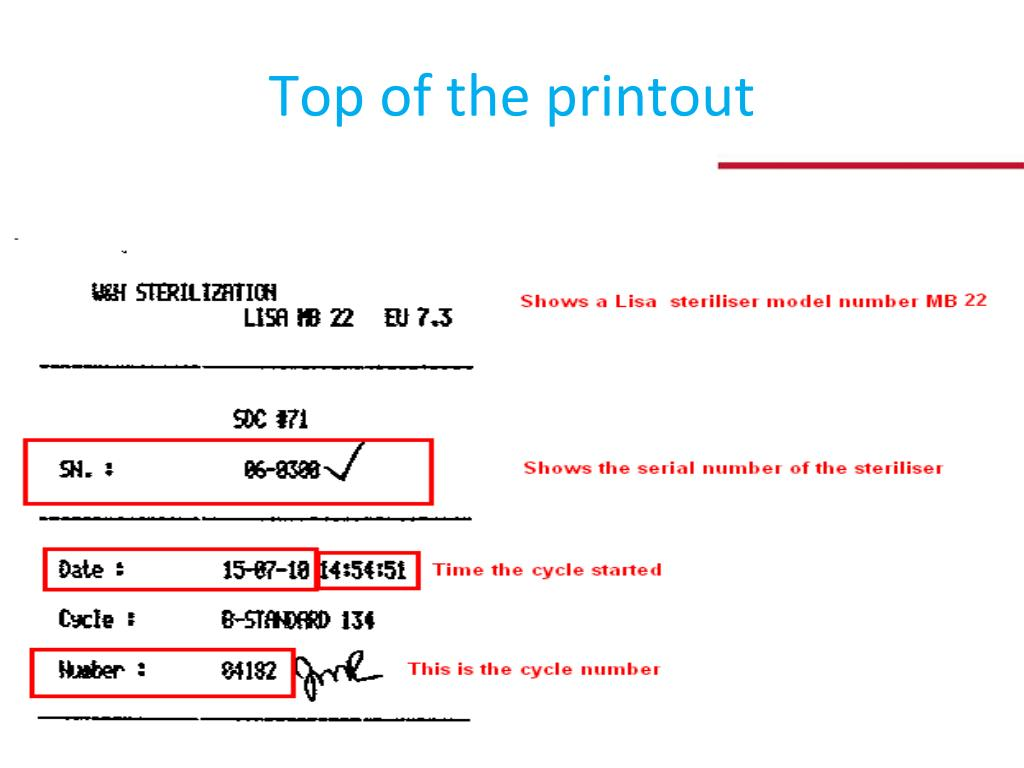 Top of the printout