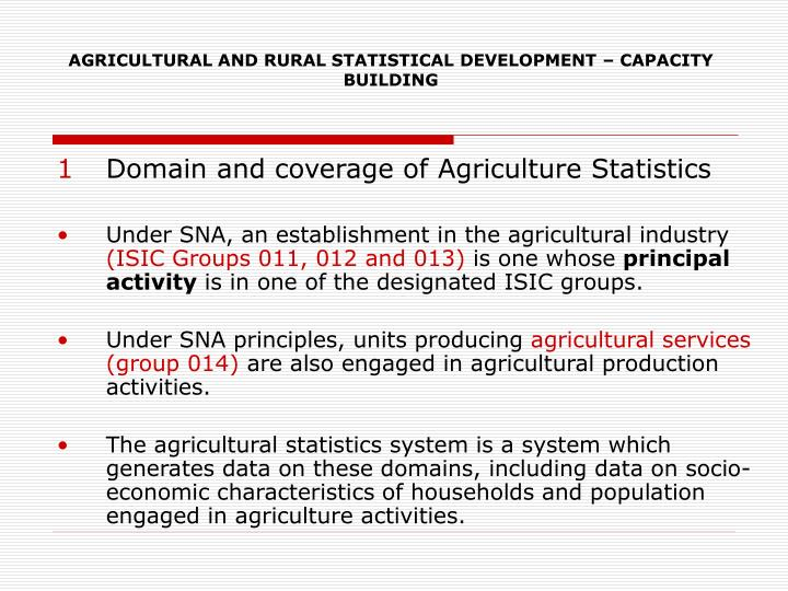 Agricultural and rural statistical development capacity building