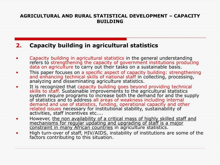 Agricultural and rural statistical development capacity building3