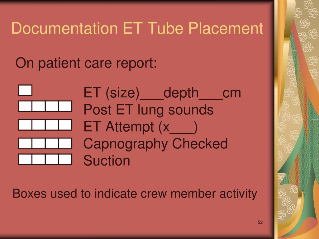 Documentation ET Tube Placement