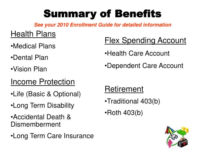Summary of benefits