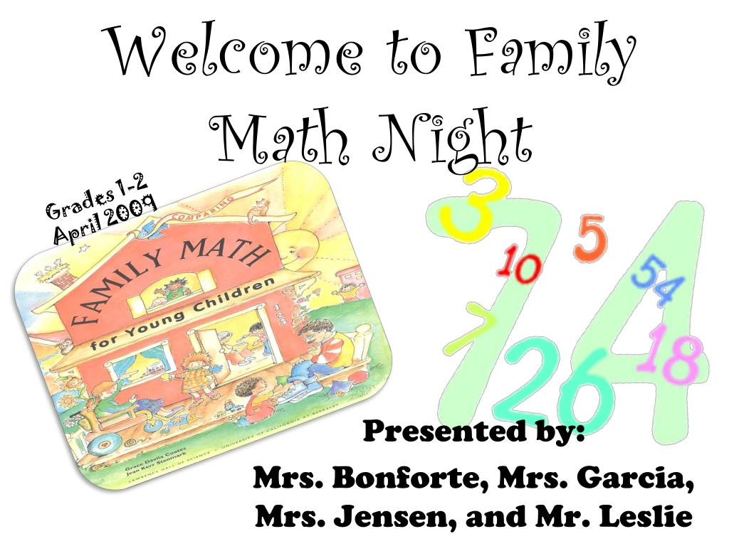 welcome to family math night l.