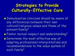 strategies to provide culturally effective care