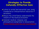 strategies to provide culturally effective care53