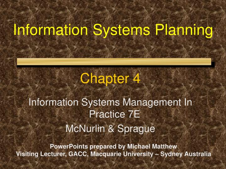information systems planning n.