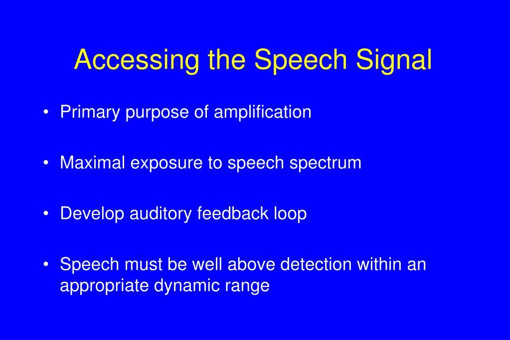 Accessing the Speech Signal