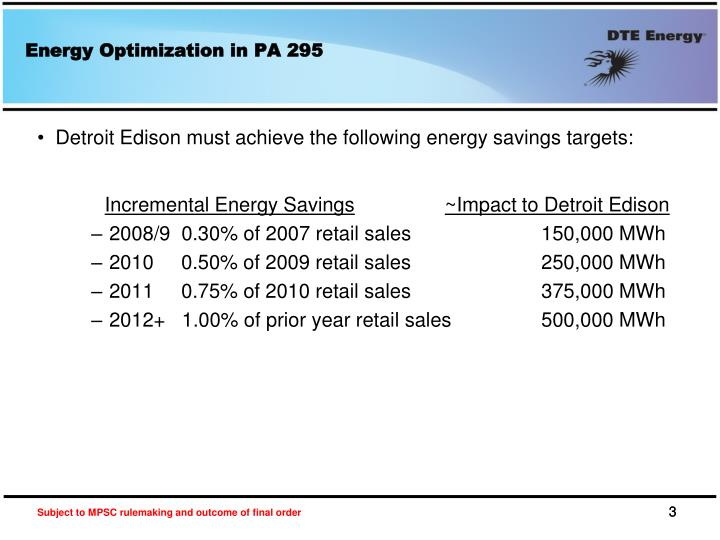 Energy Optimization in PA 295