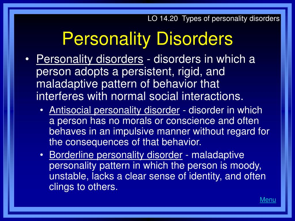 LO 14.20  Types of personality disorders