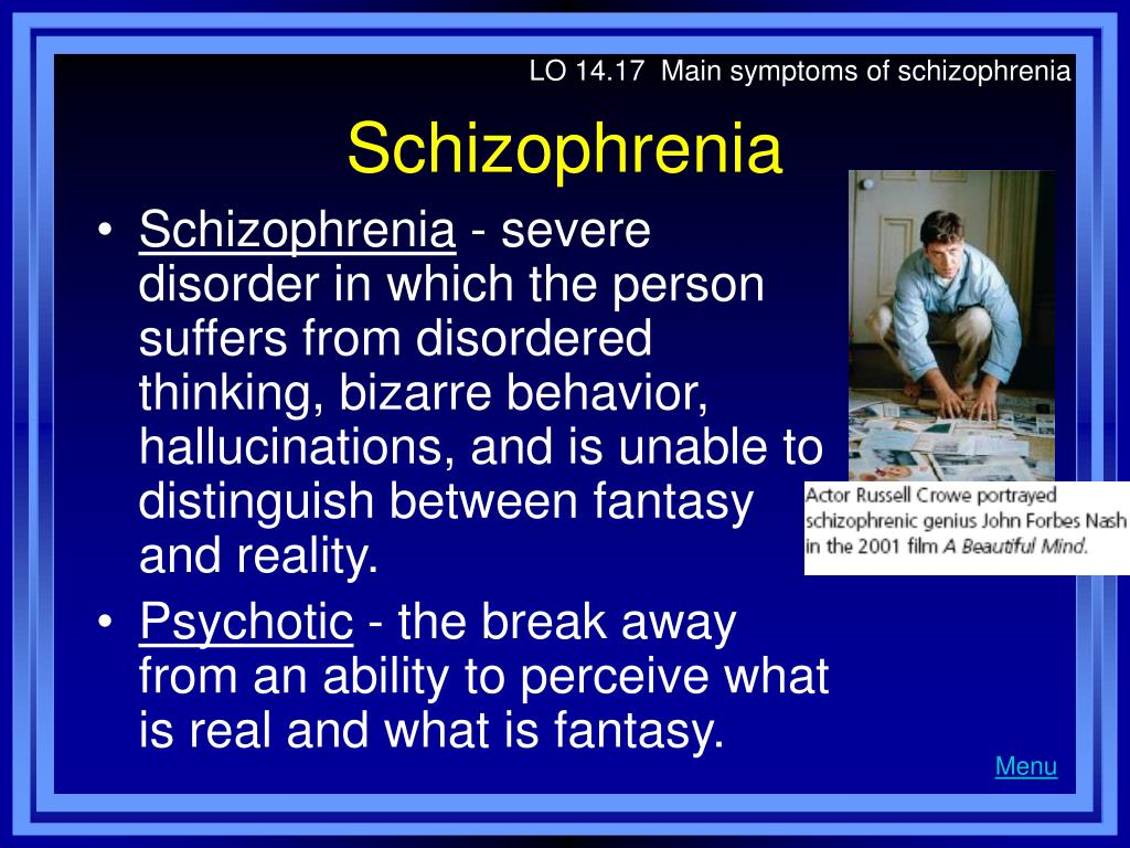 LO 14.17  Main symptoms of schizophrenia