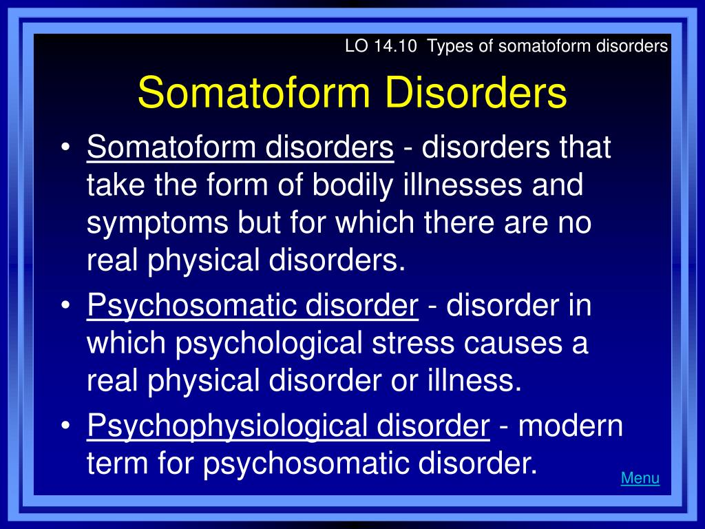LO 14.10  Types of somatoform disorders