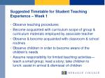 suggested timetable for student teaching experience week 1