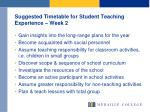 suggested timetable for student teaching experience week 2