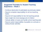 suggested timetable for student teaching experience week 3