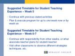 suggested timetable for student teaching experience week 5