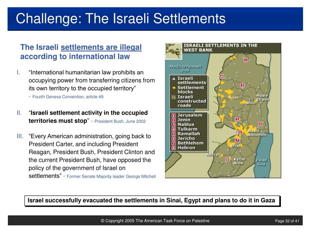Challenge: The Israeli Settlements