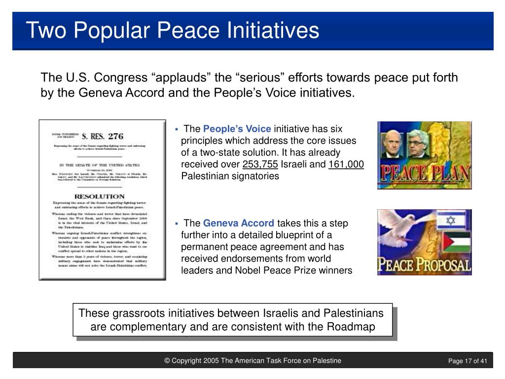 Two Popular Peace Initiatives