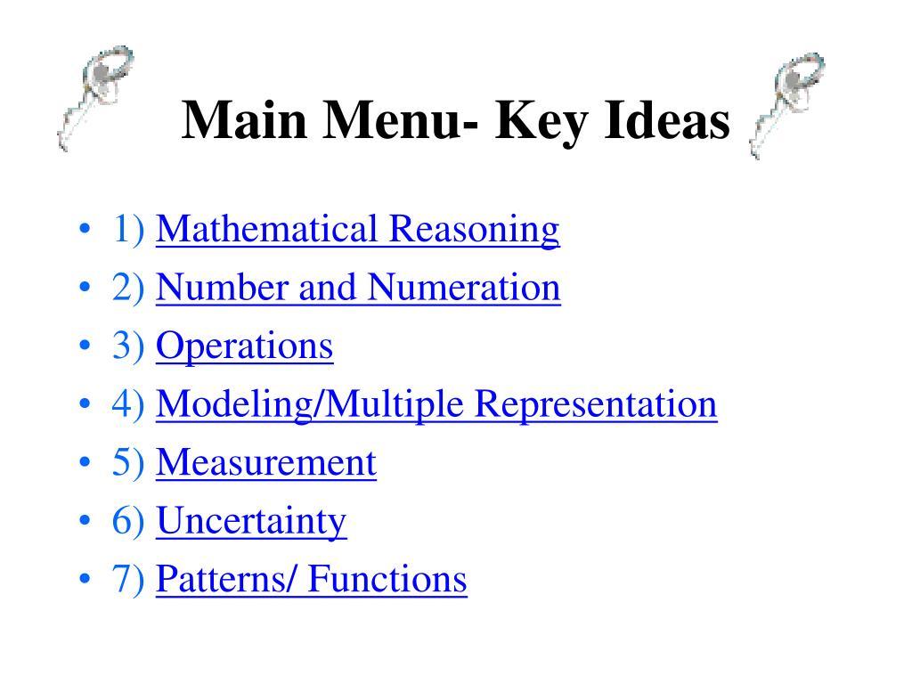 Main Menu- Key Ideas