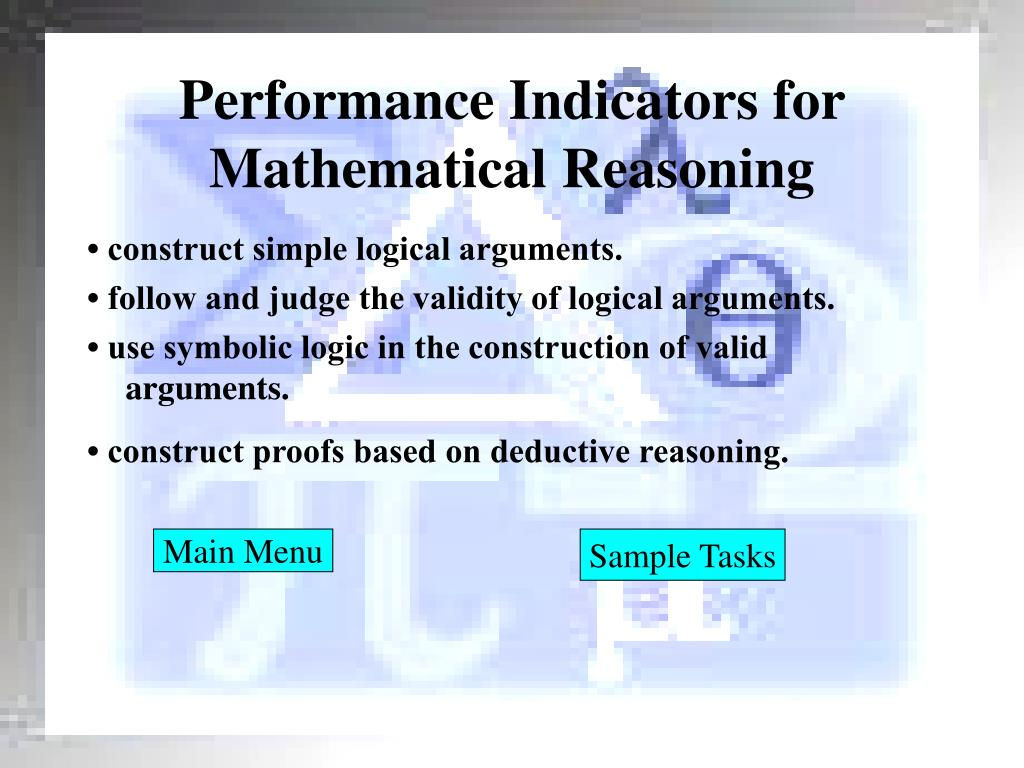 Performance Indicators for Mathematical Reasoning