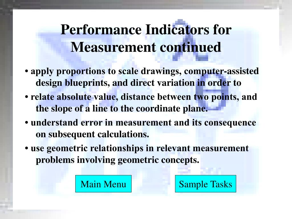Performance Indicators for Measurement continued