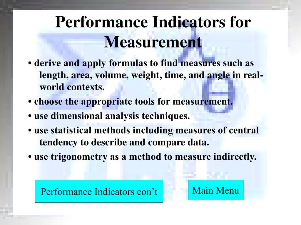 Performance Indicators for Measurement