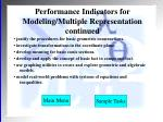 performance indicators for modeling multiple representation continued