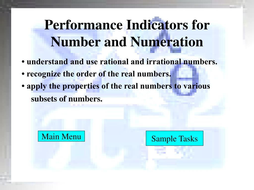 Performance Indicators for Number and Numeration