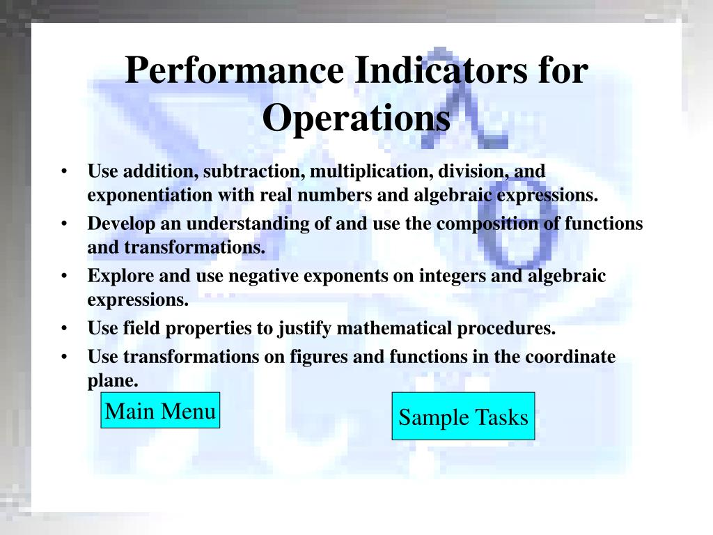 Performance Indicators for Operations