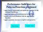 performance indicators for patterns functions continued