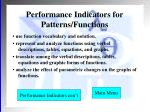 performance indicators for patterns functions
