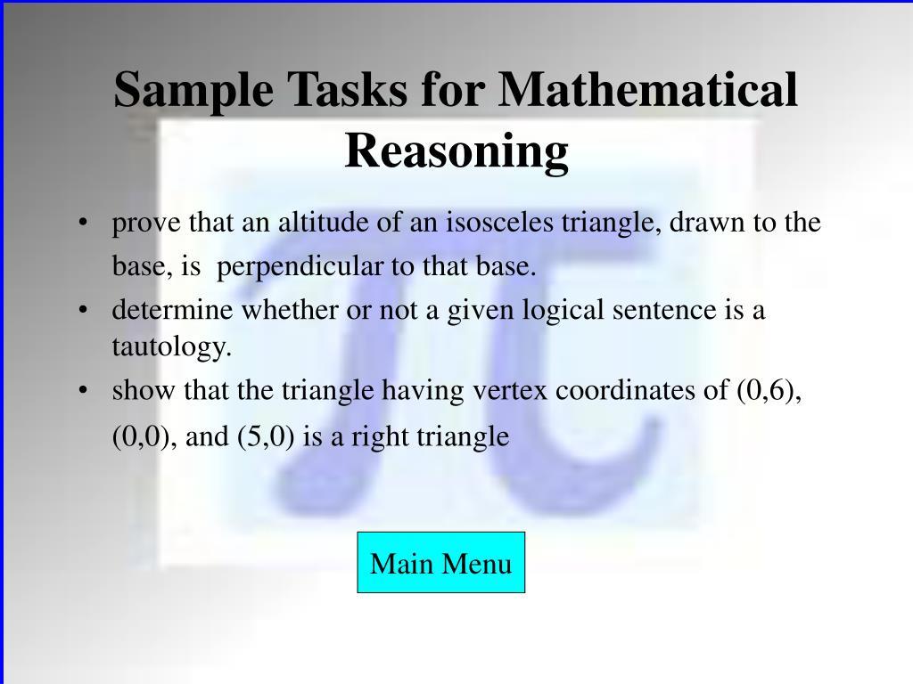 Sample Tasks for Mathematical Reasoning
