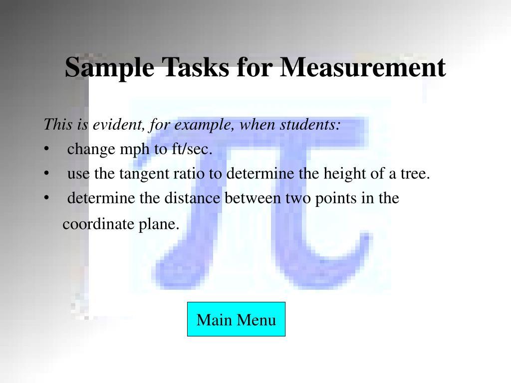 Sample Tasks for Measurement