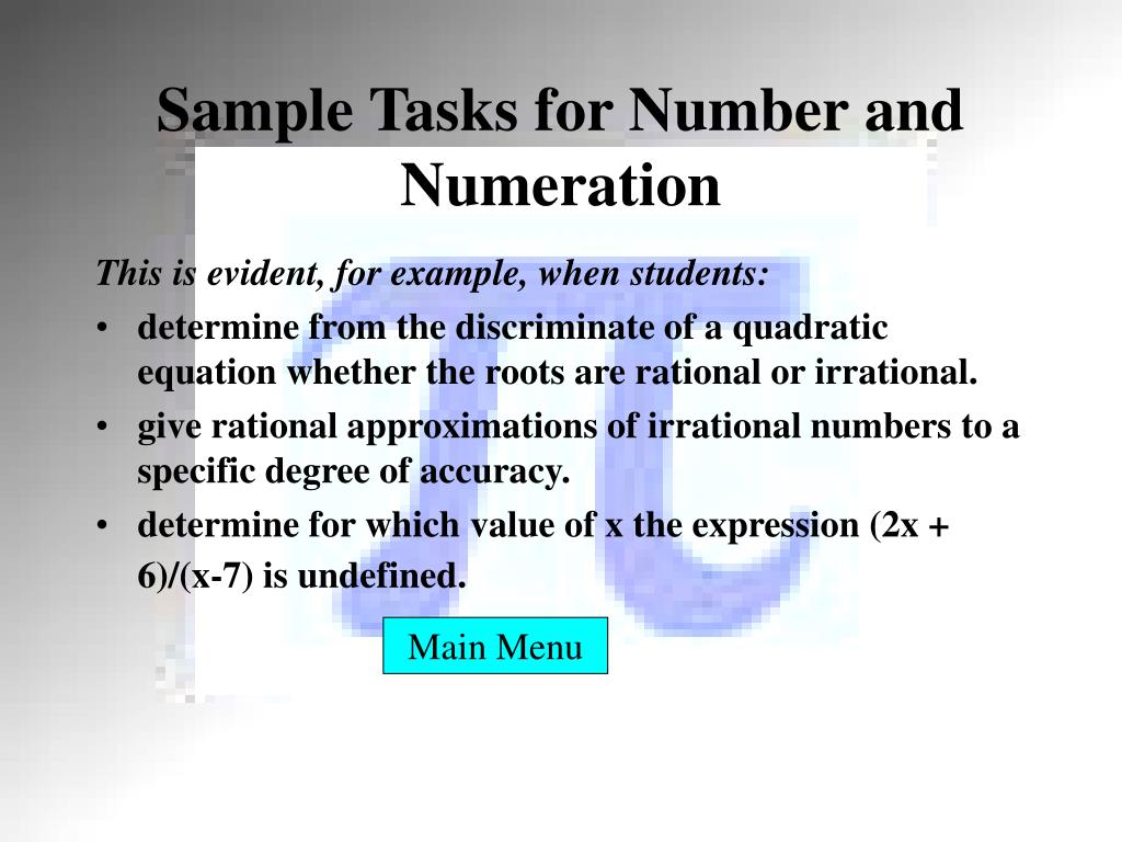 Sample Tasks for Number and Numeration