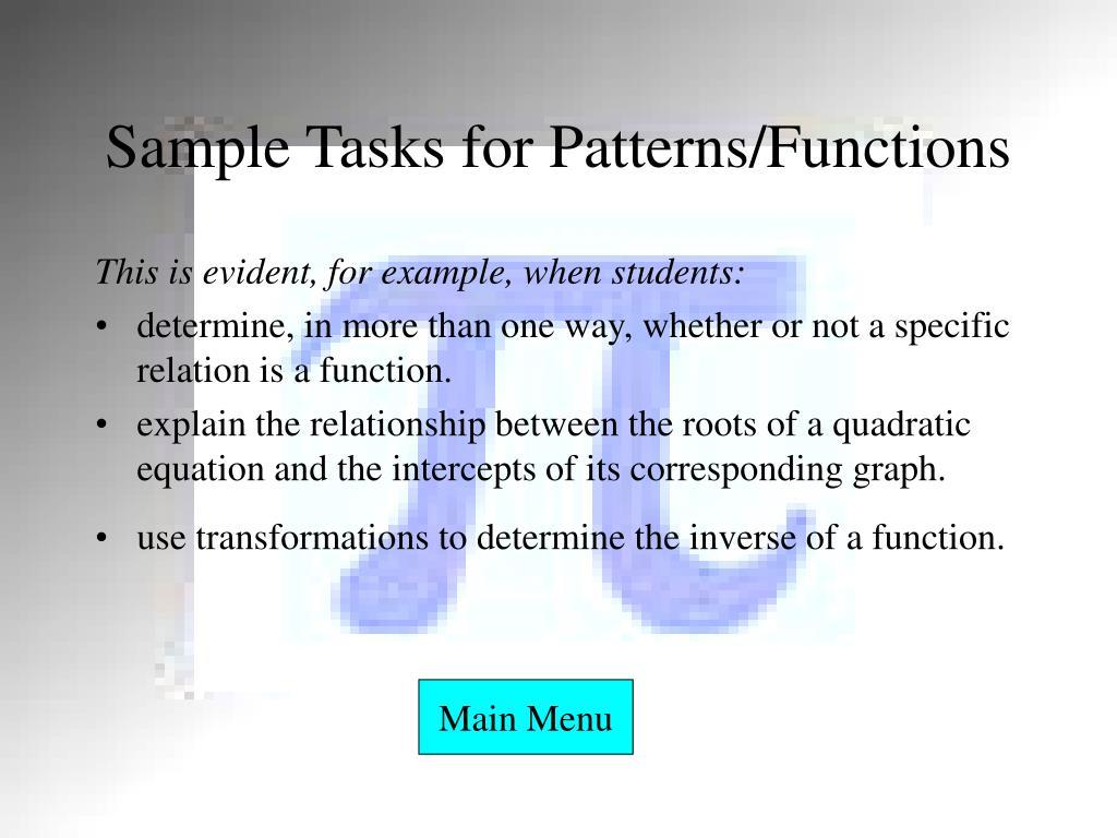Sample Tasks for Patterns/Functions