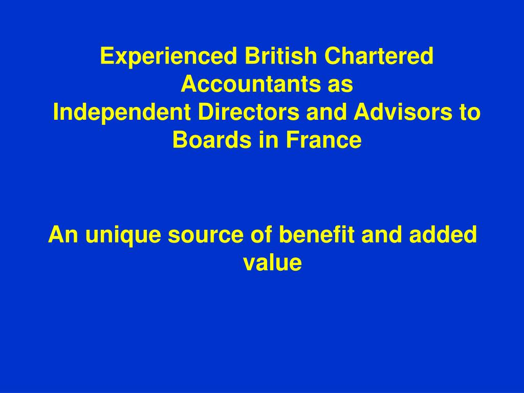Experienced British Chartered Accountants as