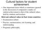 cultural factors for student achievement