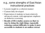 e g some strengths of east asian instructional practices