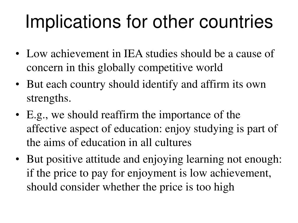 Implications for other countries