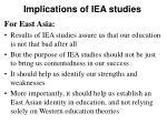 implications of iea studies