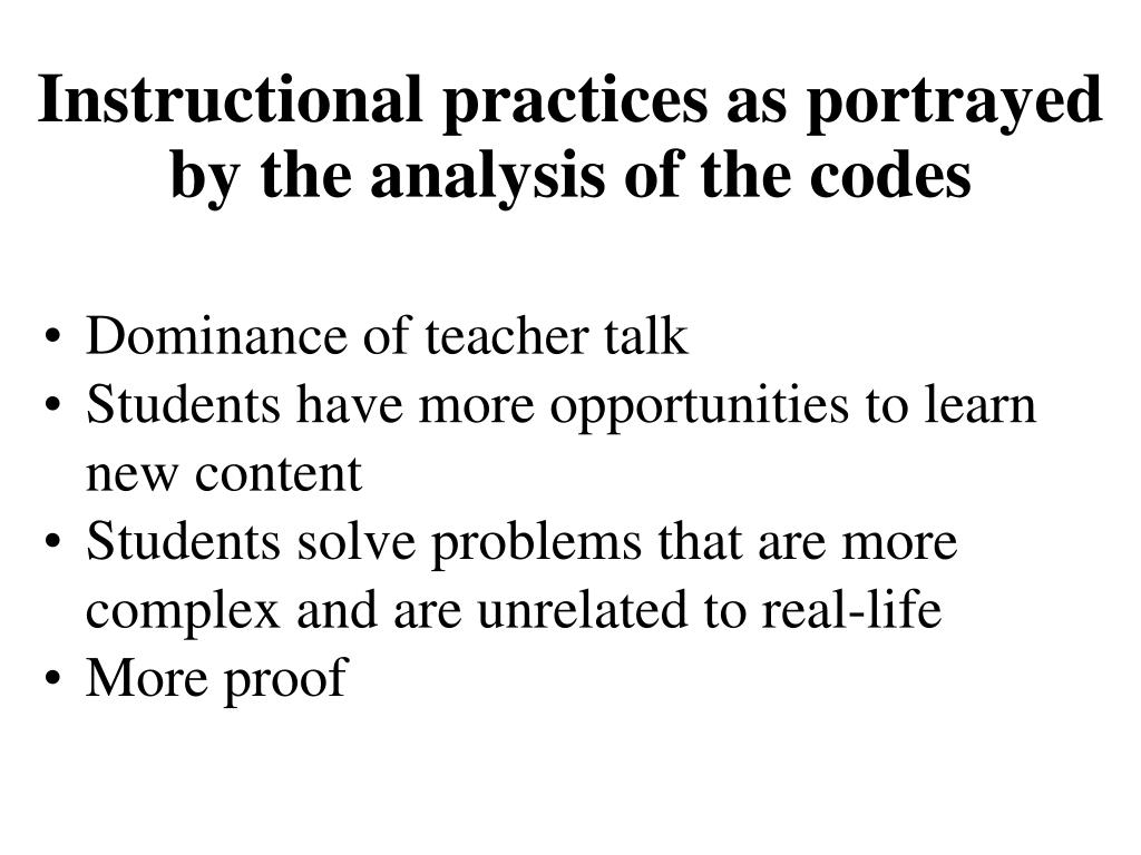 Instructional practices as portrayed by the analysis of the codes