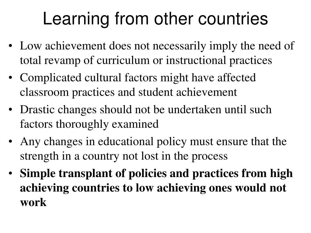 Learning from other countries